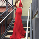 Red Deep V Neck Mermaid Evening Prom Dresses, Long Sexy Party Prom Dress OK118