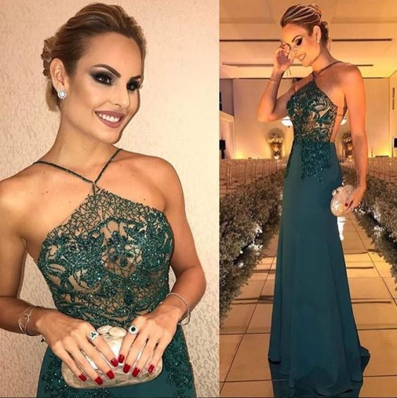Fashion Dark Green Sheath Beading Sleeveless Long Prom Dresses OK865