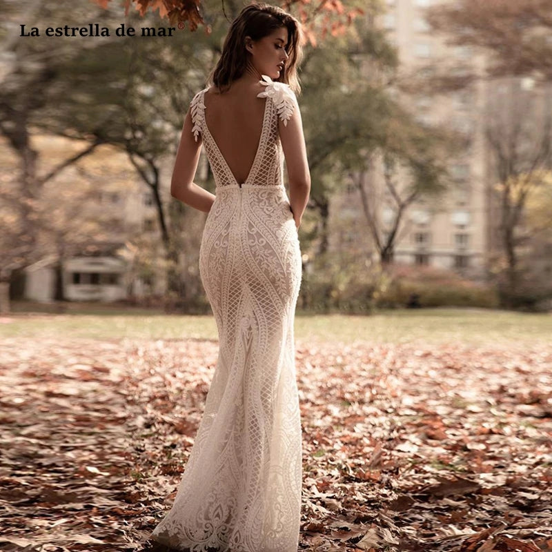 Chic Mermaid Lace Deep V Neck Wedding Dress Sexy Bridal Gown V Back OKV54