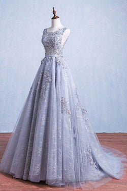 Glamorous A-Line Round Neck Gray Tulle Ball Gown Long Prom Dress OK142