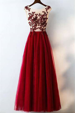 Charming Red A Line Long Tulle Lace Appliques Prom Dresses OKC21