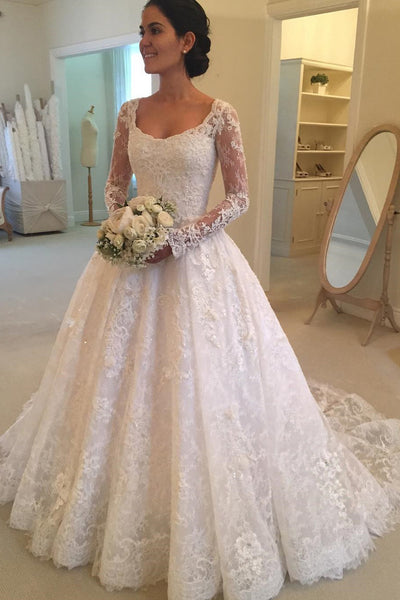 Long Sleeves Scoop Off White Lace A Line Elegant Wedding Dresses OKG93