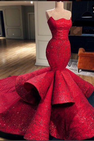 Charming Mermaid Red Long Beading Prom Dress, Evening Dresses OKE61