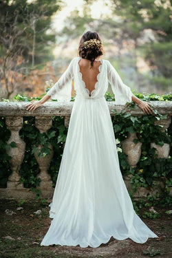 Sexy Ivory Lace 3/4 Long Sleeve Backless Summer Chiffon Plus Size Beach Wedding Dresses OK271