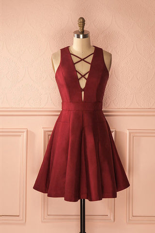 Simple Burgundy Satin A-line Deep V-neck Short Homecoming/Prom Dresses,Graduation Dresses OK424