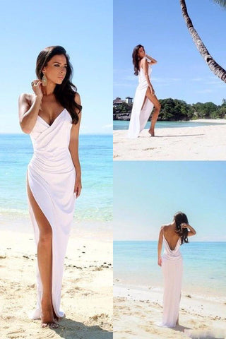 Sexy Backless Beach Bridal Dress,Slit Spaghetti Straps Summer White Wedding Gown OK260