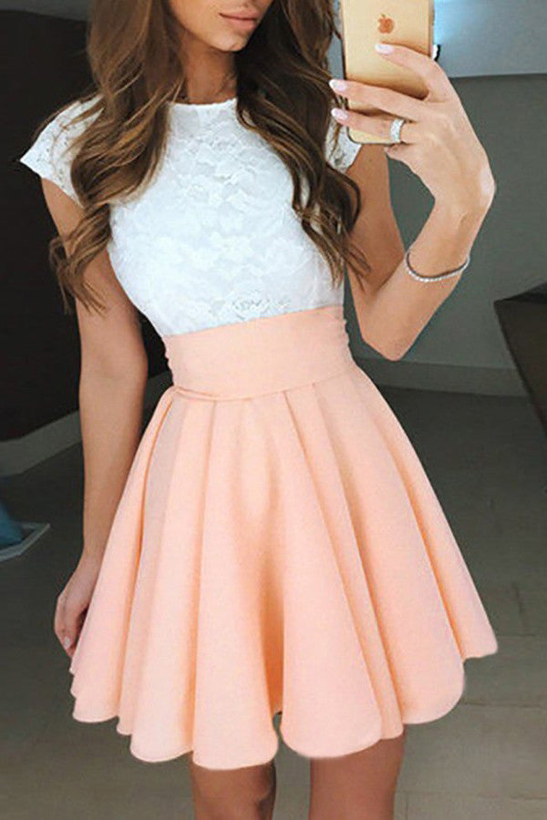 A-Line Homecoming Dresses,Jewel Homecoming Dresses,Cap Sleeves Homecoming Dresses,White Lace Prom Dresses,Short Party Dresses,Pearl Pink Homecoming Dresses,Lace Prom Dresses,Graduation Dresses