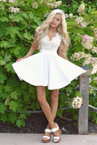 A-line Homecoming Dresses,Sexy Prom Dress,Short Prom Dress,White Homecoming Dresses,Lace Homecoming Dress,Open Back Prom Dresses,Graduation Dress,Party Dress