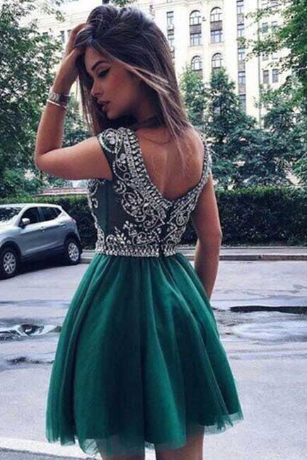 Beads homecoming dresses,Hunter Green homecoming dress,Junior Homecoming Dresses,Hunter Green prom dress,Tulle homecoming dress,Short homecoming dress