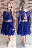 A-line Homecoming Dresses,Long Sleeves Homecoming Dresses,Royal Blue Homecoming Dresses,Open Back Prom Dresses,Lace Prom Dresses,Lace Homecoming Dresses,Royal Blue Prom Dresses