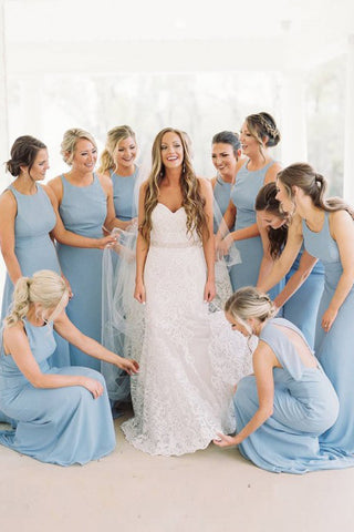A-Line Round Neck Floor-Length Sky Blue Chiffon Bridesmaid Dress OKR90