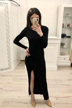 Sheath Long Sleeves Split Black Sexy Prom Dresses, Formal Evening Dresses OKI80