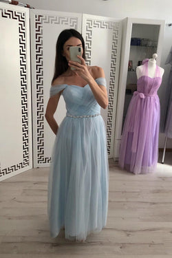 A Line Tulle Off the Shoulder Light Blue Cheap Prom Dresses OKI79