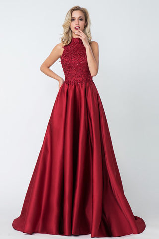 Red High Neck Applique Satin Long Prom Dresses