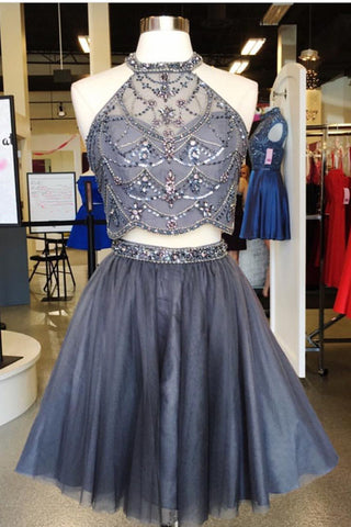 Two Piece Homecoming Dresses,Grey Homecoming Dresses,A Line Homecoming Dress,Short Prom   Dress,Beading Homecoming Dresses