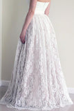 Sweetheart Sleeveless Long White Lace A Line Wedding Dress with Belt OK528