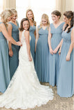 A-Line V-Neck Floor-Length Dusty Blue Chiffon Simple Bridesmaid Dress with Ruched OKS40