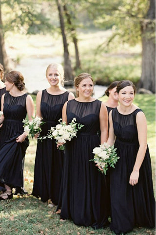 A-Line Round Neck Floor-Length Navy Blue Chiffon Bridesmaid Dress OKR93