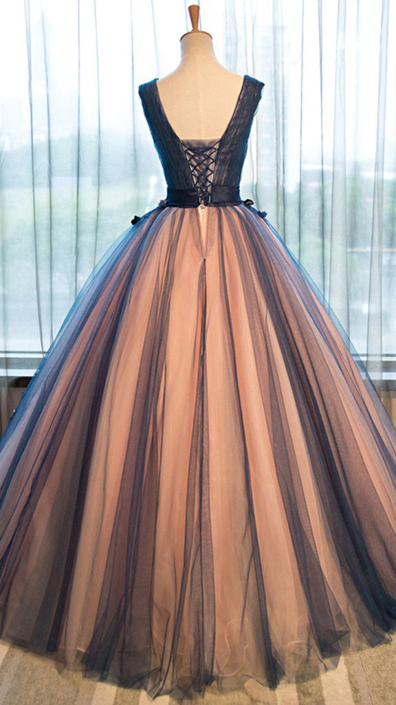 Pretty tulle v-neck applique A-line long evening dresses ,ball gown prom dress OK195