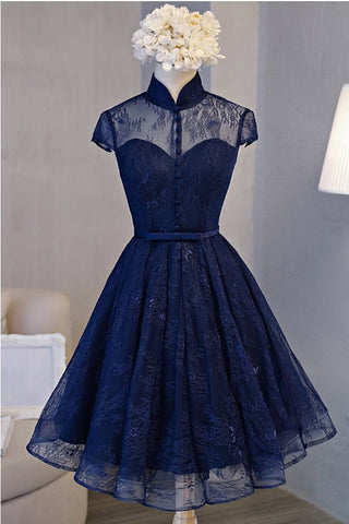 Vintage Tea Length Royal Blue Dress