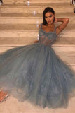 A Line Spaghetti Straps Tea Length Dusty Blue Tulle Prom Dress OKS69