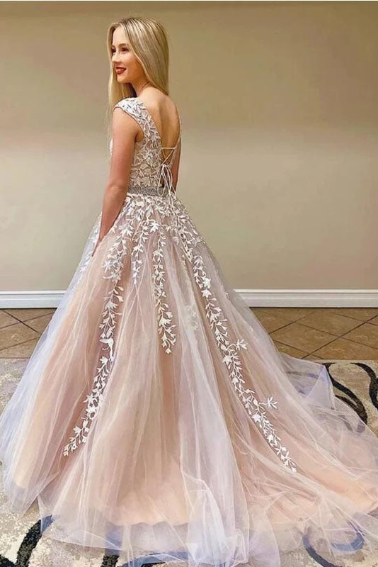 A Line Cap Sleeves Lace Appliques Beaded Prom Dresses, School Party Gown OKU34