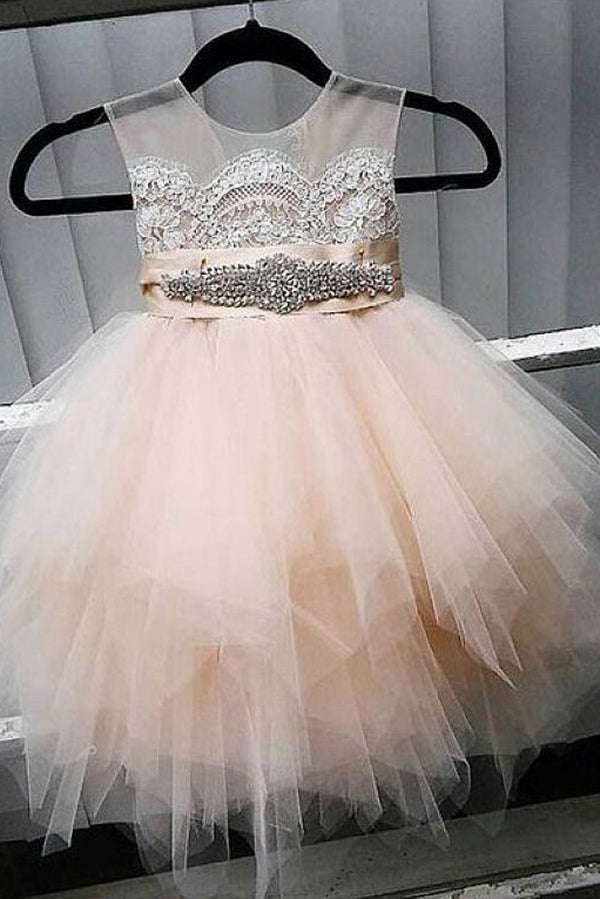 Cute Tulle Jewel Neckline Cap Sleeve Beading Flower Girl Dresses With Lace Appliques OK728