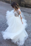 Romantic Wedding Dresses,Ball Gown Wedding Dress,Long Sleeves Wedding Dresses,Tulle Bridal   Gown
