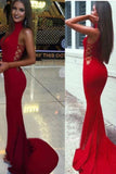High Neck Red Mermaid Prom Dress,Long Sexy Evening Party Gown OK628