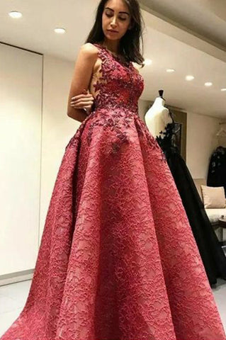 A-Line Prom Dresses,Backless Prom Gown,Lace Prom Dress,Appliques Prom Dress