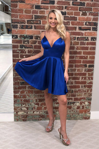 Royal Blue Simple Satin V Neck Straps Short Homecoming Dresses OKB66