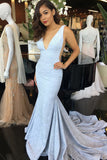 Elegant Mermaid Deep V-Neck Court Train Light Blue Prom Dress OK756