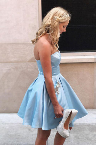 A-line Satin Beaded Strapless Short Cheap Homecoming Dresses OKB63