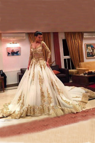 Gold Prom Dresses With Lace,Long SleevesWedding Dresses, V-Neck Prom Gown,Beading Prom Dresses With Chapel Train,Ball Gown Wedding Dresses