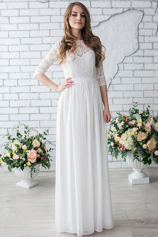 Long Wedding Dress,Long Sleeve Wedding Dress,Chiffon Wedding Dress,Lace Bridal Dress,Beach Wedding Dress,Custom Made Wedding Dress,Floor-Length Wedding Dress