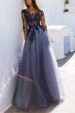 Charming Prom Dress,Long Sleeve Prom Dress,Appliques Prom Dresses,Sexy Prom Dress,See Though Evening Dress,Blue Prom Dresses