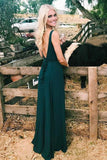Charming A-Line V-Neck Spaghetti Straps Backless Floor-Length Dark Green Prom Dress OK758