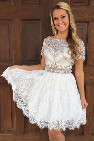 Stylish Homecoming Dress,Two Piece Homecoming Dresses,A-Line Prom Dress,Bateau Homecoming Dress,Short Sleeves Homecoming Dress,Lace Homecoming Dress With Beading