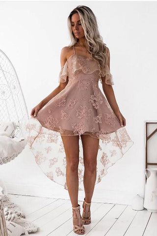 33dc1b0c65f High Fashion A-Line Lace Off-Shoulder High Low Short Homecoming Dress OK456