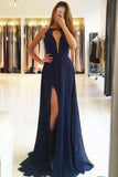Navy Blue Prom Dresses,A Line Prom Gown,Split Prom Dress,Chiffon Prom Dress,Open Back Prom Dress