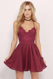 Burgundy Homecoming Dresses,Lace Homecoming Dress,Spaghetti Straps Prom Dresses,Chiffon Prom Dress,Short Prom Dress,Cheap Evening Dress,Sexy Homecoming Dress