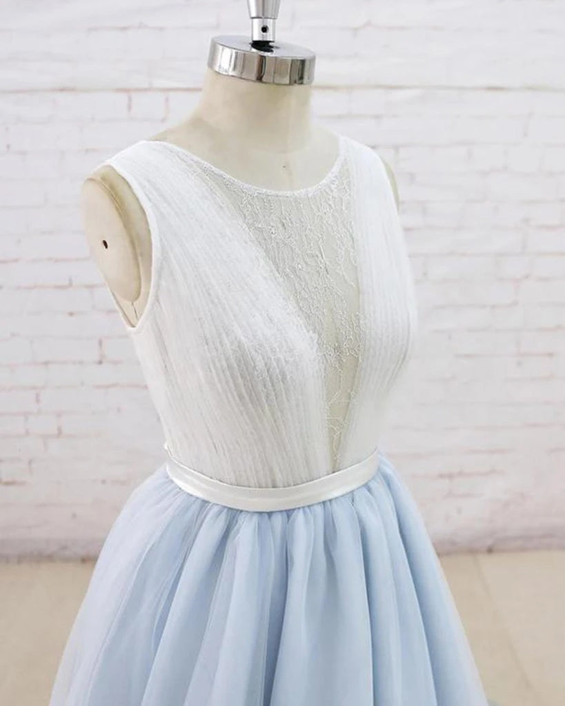 Light Blue Tulle Sheer Back A Line Round Neck Formal Prom Dress OKU11