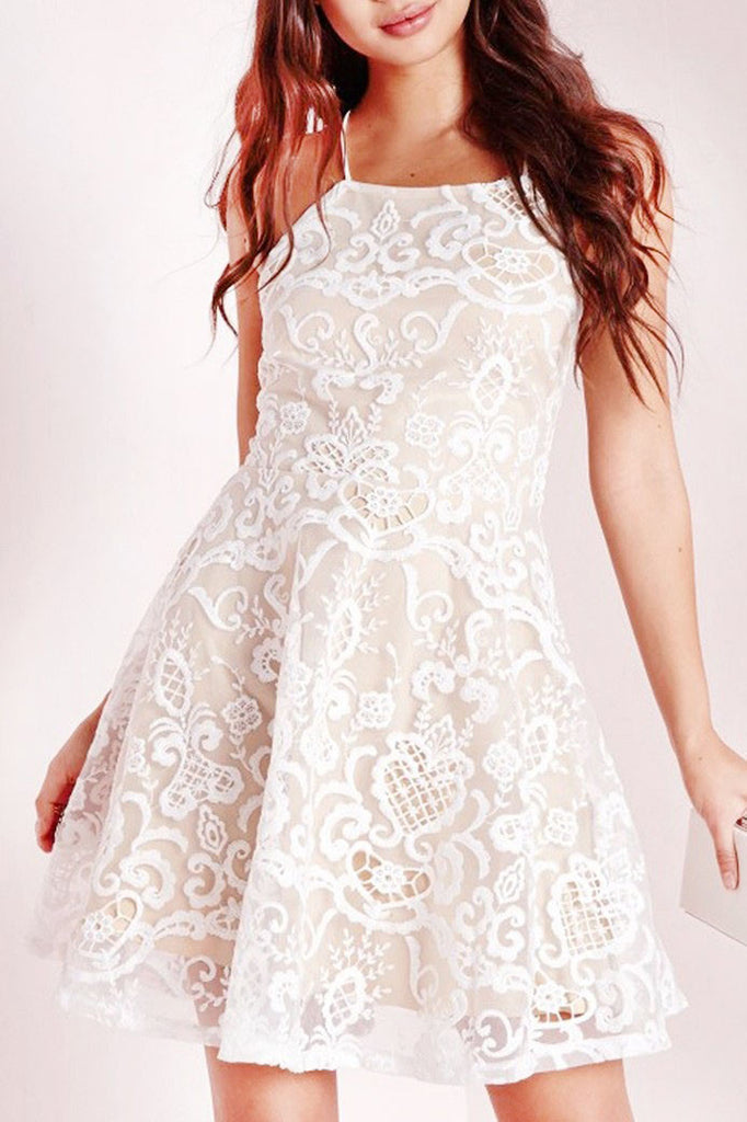A-line Homecoming Dresses,Halter Prom Dress,Short Prom Dress,White Homecoming Dresses,Lace Homecoming Dress,Graduation Dress,Party Dress,Short/Mini Cocktail Dress,Homecoming Dress