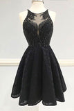 Sexy Black Lace Homecoming Dress,Short V Neck Party Dresses,Black Prom Dresses OK308