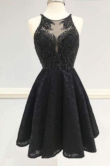 Fashion Homecoming Dresses,Black Homecoming Dress,Lace Homecoming Dress,Beaded Partry Dress,Round Neck Homecoming Dress,Black Prom Dress,Lace Prom Dresses