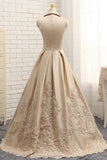 A-line V-neck Cap Sleeves Satin Appliques Lace Prom Gown Long Formal Evening Dresses OK643