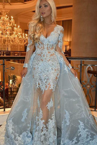 Detachable V-Neck Long Sleeve Prom Dress with Lace Appliques Light Blue Evening Gown OKH28