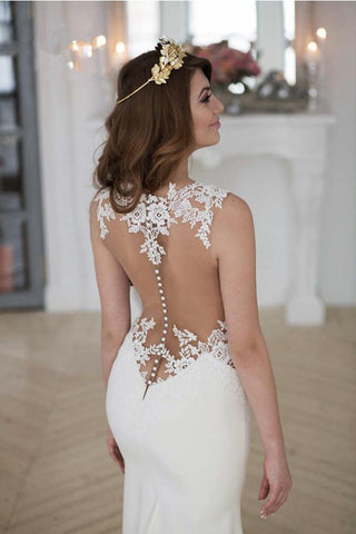 Stunning Wedding Dresses,Mermaid Wedding Dress,Sleeveless Wedding Gown,Chapel Train Wedding Dresses,Lace Wedding Gown,Sheath Wedding Dress,Appliques Wedding Dresses