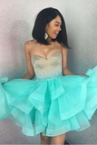 Cute Sparkly Sweetheart Mint Green A Line Short Homecoming Dress OKB50