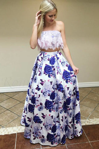 Two Piece Strapless Floor-Length Floral Printed Prom Dress with Lace Top OKQ97